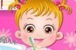 Baby Hazel se lava los dientes