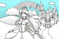Coloreando el Castillo y la Princesa