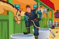 Kristoff limpiando establos